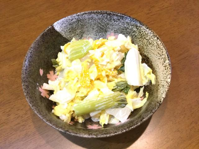 白菜と小松菜の柚子マヨおひたし