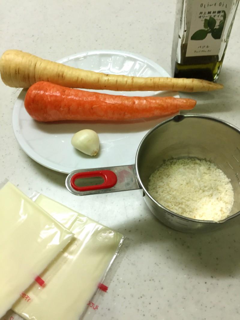 パースニップと人参のパン粉焼きの材料イメージ