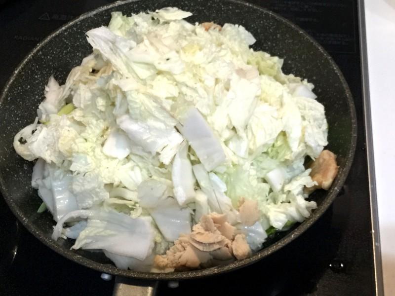 中華風!白菜とチンゲンサイと鶏肉のあんかけ手順3