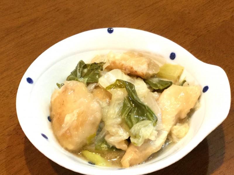 中華風!白菜とチンゲンサイと鶏肉のあんかけ