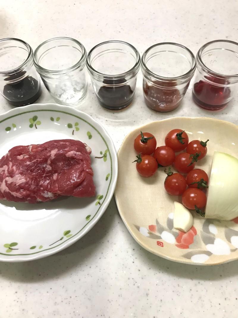 牛肉のトマト炒めの材料イメージ